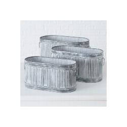 Pot de fleurs rayé en zinc