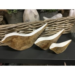 trio d'oiseaux en bois Blanc